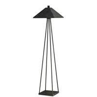 Currey & Company Libretto 1 Light Floor Lamp in Mole Black/Antique Mirror 8046