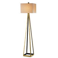 Currey & Company 8049 Bel Mondo 70 inch 150 watt Contemporary Gold Leaf and Satin Black Floor Lamp Portable Light
