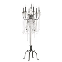 Currey & Company Fortress 7 Light Candelabra Floor Lamp in Black Iron/Aged Brass 8063