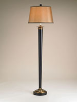 Currey & Company Tryon 1 Light Floor Lamp in Black/Brass 8968