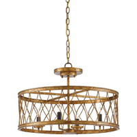 Crisscross 4 Light 22 inch Gold Leaf Semi Flush Mount Ceiling Light