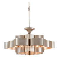 Grand Lotus 6 Light 30 inch Contemporary Silver Leaf Chandelier Ceiling Light