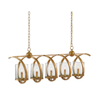 Maximus 5 Light 13 inch Washed Gold Leaf Chandelier Ceiling Light, Rectangular