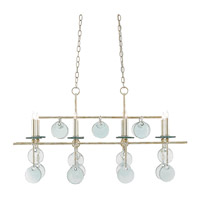 Sethos 8 Light 30 inch Silver Granello Chandelier Ceiling Light, Rectangular