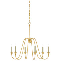 Orion 6 Light 29 inch Antique Gold Leaf Chandelier Ceiling Light, Small