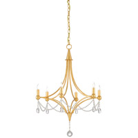 Etiquette 6 Light 24 inch Antique Gold Leaf Chandelier Ceiling Light