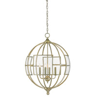 Broxton 4 Light 24 inch Silver Leaf Chandelier Ceiling Light, Orb