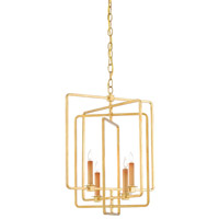 Metro 4 Light 18 inch Antique Gold Leaf Chandelier Ceiling Light, Square