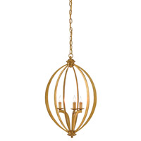 Bella Luna 3 Light 16 inch Antique Gold Leaf Chandelier Ceiling Light, Small