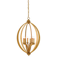 Bella Luna 6 Light 21 inch Antique Gold Leaf Chandelier Ceiling Light, Large