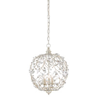 Crystal Bud 3 Light 13 inch Silver Granello Chandelier Ceiling Light, Sphere