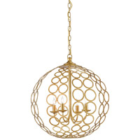 Tartufo 4 Light 20 inch Antique Gold Leaf Chandelier Ceiling Light