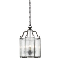 Monastery 3 Light 12 inch Black/Rainwater Glass Lantern Ceiling Light