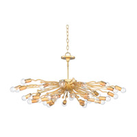 Solange 32 Light 38 inch Dark Contemporary Gold Leaf Chandelier Ceiling Light
