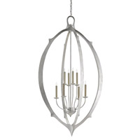 Meditation 8 Light 33 inch Contemporary Silver Leaf Chandelier Ceiling Light