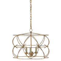 Rattigan 3 Light 20 inch Sicilian Gold Leaf Chandelier Ceiling Light