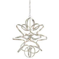 Lasso 6 Light 29 inch Silver Leaf Chandelier Ceiling Light