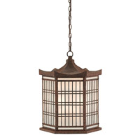 Hotei 3 Light 18 inch Molee Rust/Opaque Lantern Ceiling Light
