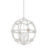 Seaforth 4 Light 27 inch Gesso White/Natural Chandelier Ceiling Light, Orb,Small