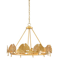 Gin Kyo 10 Light 32 inch Dark Contemporary Gold Leaf Chandelier Ceiling Light