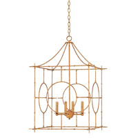 Lynworth 4 Light 24 inch Textured Gold Lantern Ceiling Light, Large