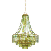 Vintner 7 Light 27 inch Dark Contemporary Gold Leaf/Green Chandelier Ceiling Light