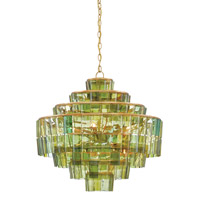 Sommelier 8 Light 27 inch Dark Contemporary Gold Leaf/Green Chandelier Ceiling Light