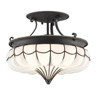 Agnes 1 Light 15 inch Satin Black Semi Flush Mount Ceiling Light