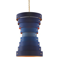 Graduation 6 Light 28 inch Contemporary Gold Leaf/New Gold Leaf/Blue Chandelier Ceiling Light