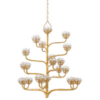 Agave Americana 22 Light 42 inch Dark Contemporary Gold Leaf Chandelier Ceiling Light