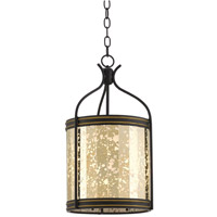 Zaire 3 Light 12 inch Satin Black/Brass/Raj Mirror Lantern Ceiling Light