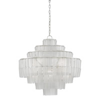 Sommelier 8 Light 27 inch Contemporary Silver Leaf/Opaque White Chandelier Ceiling Light