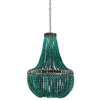 La Malaquita 3 Light 22 inch Pyrite Bronze/Green & Black Chandelier Ceiling Light