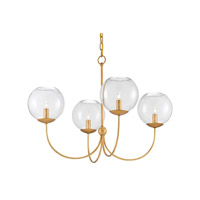 Rothwell 4 Light 33 inch Contemporary Gold Leaf Chandelier Ceiling Light