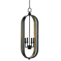 Huntsman 4 Light 17 inch Satin Black and Antique Brass Lantern Ceiling Light