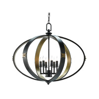Huntsman 6 Light 33 inch Satin Black and Antique Brass Chandelier Ceiling Light