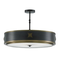 Huntsman 3 Light 25 inch Satin Black and Antique Brass Semi-Flush Mount Ceiling Light