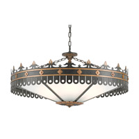 Berkeley 6 Light 40 inch Antique Gold and Moss Gray Chandelier Ceiling Light