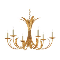 Bette 6 Light 33 inch Grecian Gold Leaf Chandelier Ceiling Light