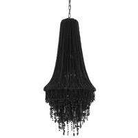 Shikari 3 Light 20 inch Black Beaded Glass Chandelier Ceiling Light, Large