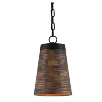 Porchside 1 Light 9 inch Dark Stained Wood and Black Pendant Ceiling Light