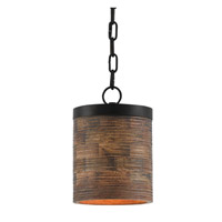 Prairie 1 Light 8 inch Dark Stained Wood and Black Pendant Ceiling Light