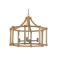 Highbank 4 Light 32 inch Iron Gray and Natural Ash Chandelier Ceiling Light