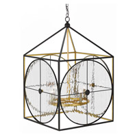 Currey & Company 9000-0205 Sagamore 4 Light 25 inch Satin Black and Contemporary Gold Lantern Ceiling Light  photo thumbnail