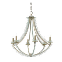 Saltwater 6 Light 30 inch Contemporary Silver Leaf and Seaglass Chandelier Ceiling Light