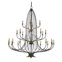 Currey & Company 9000-0213 Folgate 28 Light 57 inch French Black With Gold Leaf Accents Chandelier Ceiling Light