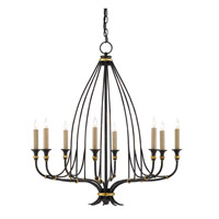 Folgate 8 Light 29 inch French Black With Gold Leaf Accents Chandelier Ceiling Light, Small
