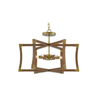 Bastian 6 Light 27 inch Chestnut and Brass Semi-Flush Mount Ceiling Light, Convertible