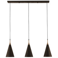 Baird 3 Light 44 inch Molé Black and Molé Gold and Acrylic White Pendant Ceiling Light