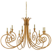 Eyelash 10 Light 53 inch French Gold Leaf Chandelier Ceiling Light